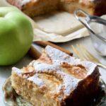 Slice of Dorset apple cake on a plate.