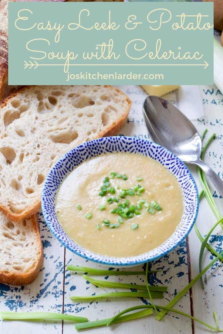 This Easy Leek & Potato Soup with Celeriac is quick & easy to make, creamy and super comforting but not heavy at all. Delicious twist on an old classic! #leekpotatosoup #celeriacsoup #soupforlunch  #easyrecipe #soupforlunch #soupseason