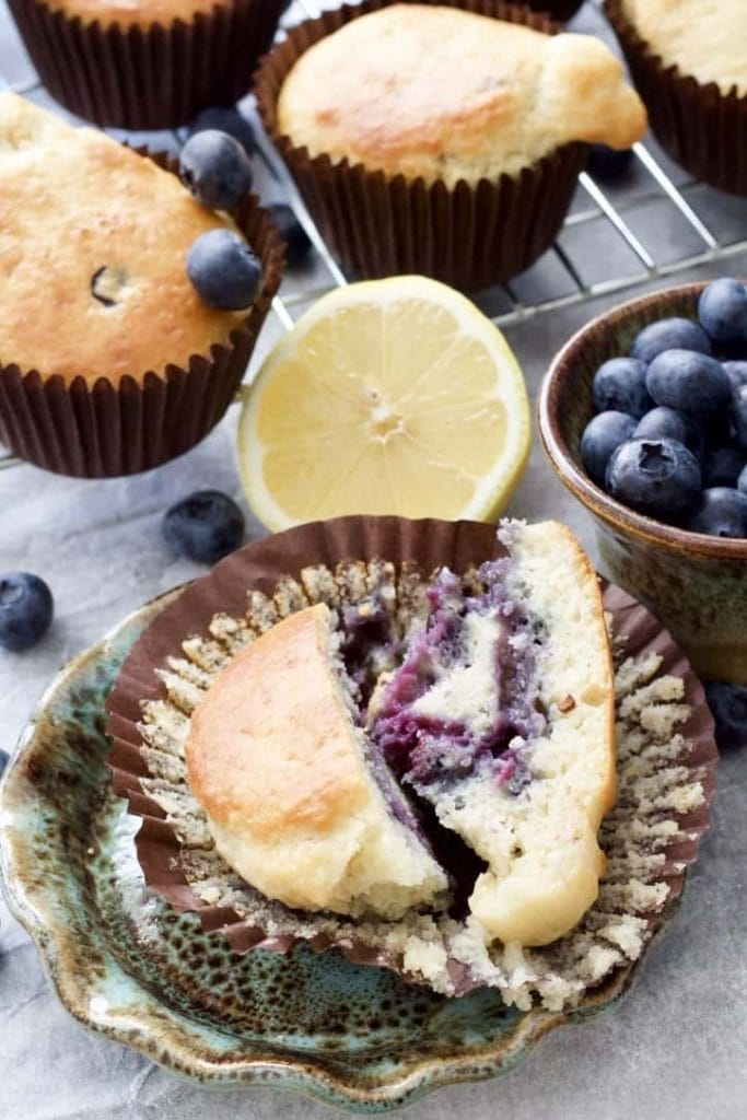 Blueberry muffin cut in half.
