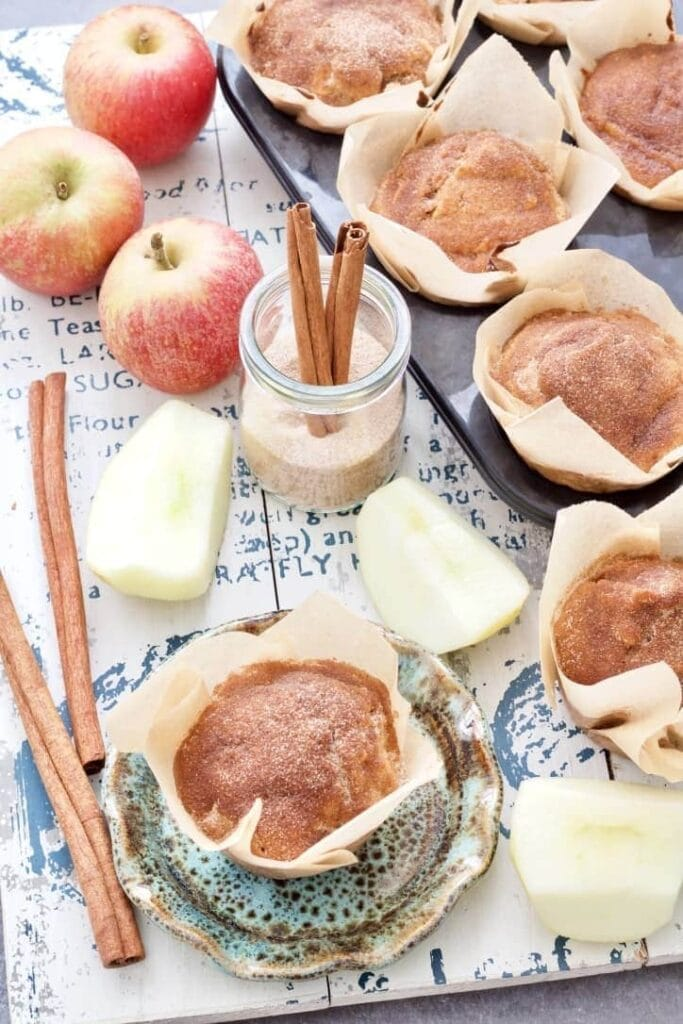 Apple & cinnamon muffins, apples & cinnamon sticks.