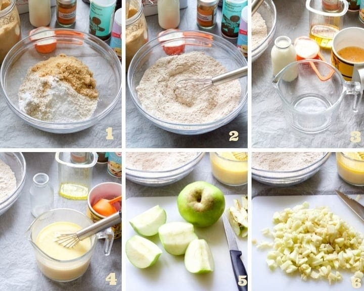 Muffin making process collage part 1.