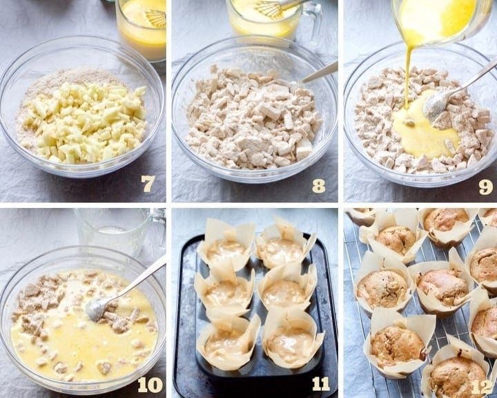 Muffin making process collage part 2.