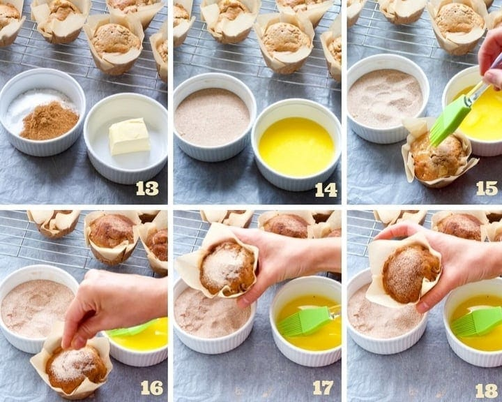 Muffin topping making process collage.