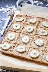 Banana flapjacks decorated with banana slices.