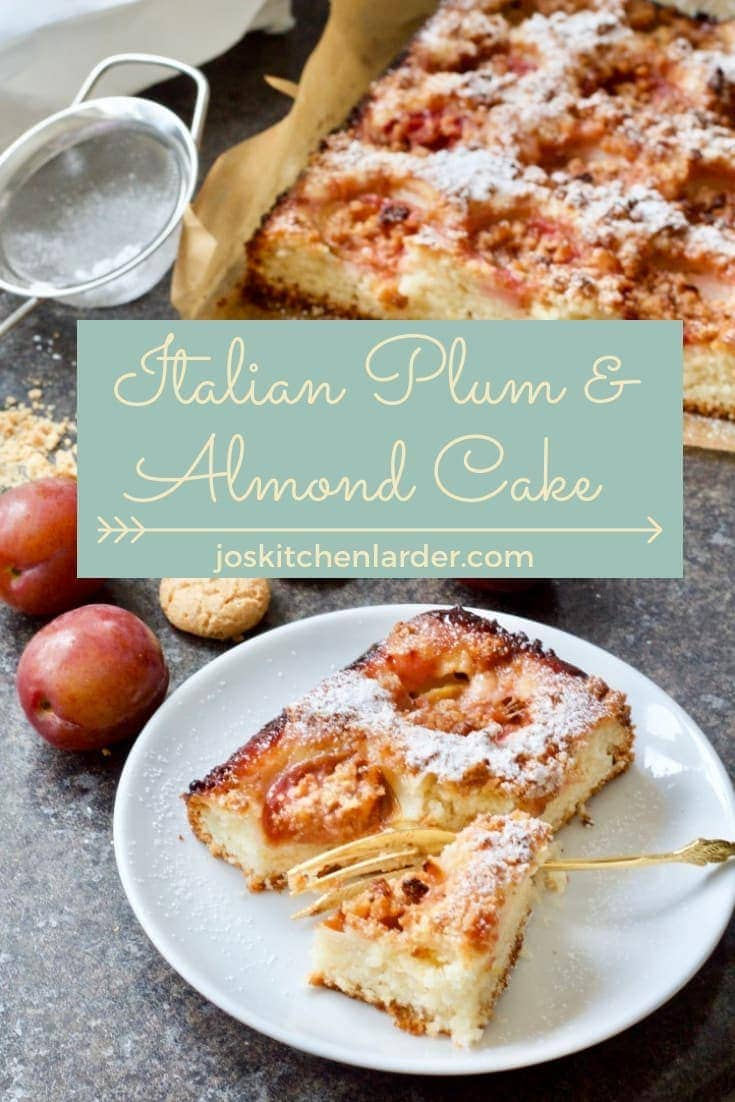 Perfect cake to celebrate change of seasons. This Italian Plum & Almond Cake topped with Amaretti Biscuits will ease you in gently to the flavours of Autumn. #plumcake #almondcake #plumandalmondcake #amarettibiscuits #traybake