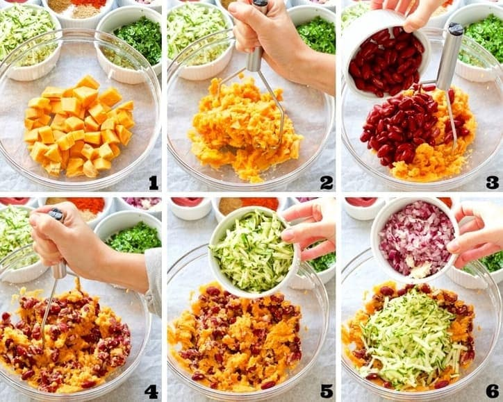 Preparation of the vegetable filling process collage 1.