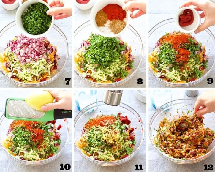 Preparation of the vegetable filling process collage 2.