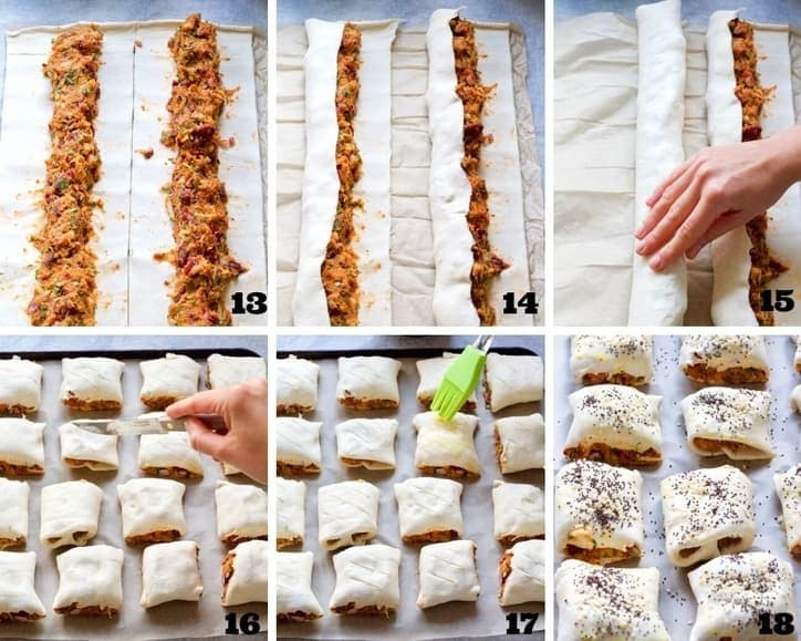 Sausage rolls assembly process collage.