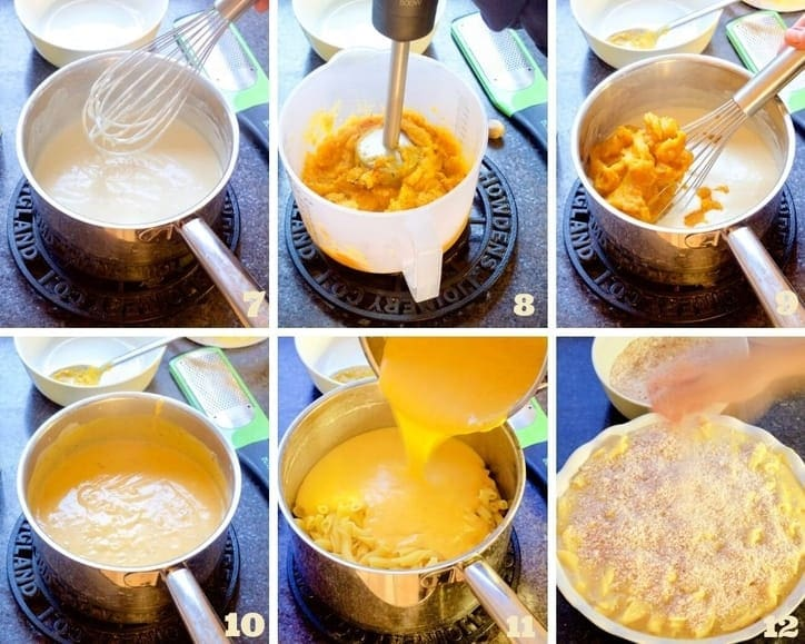 Macaroni cheese making process collage 2.