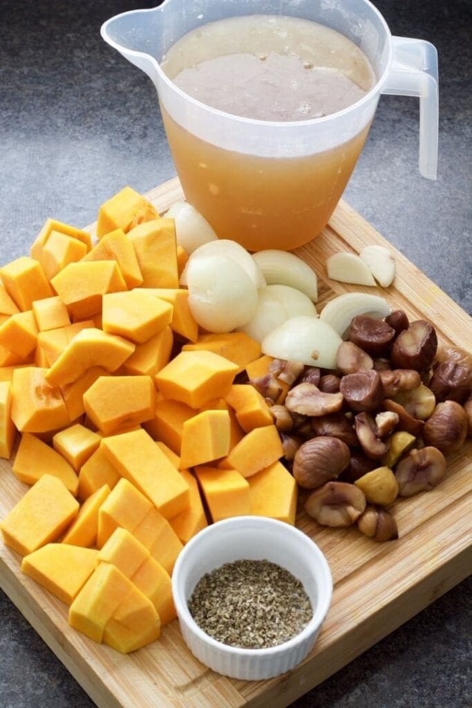 Ingredients for making butternut squash and chestnut soup.