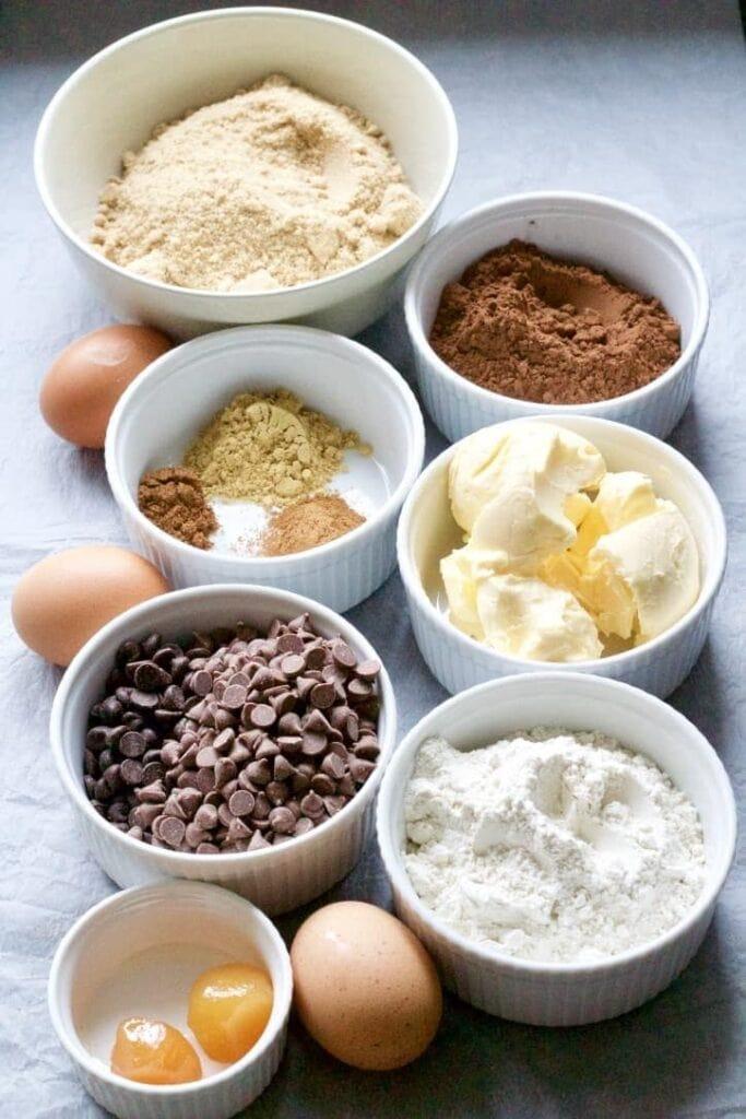Ingredients for making gingerbread brownies.
