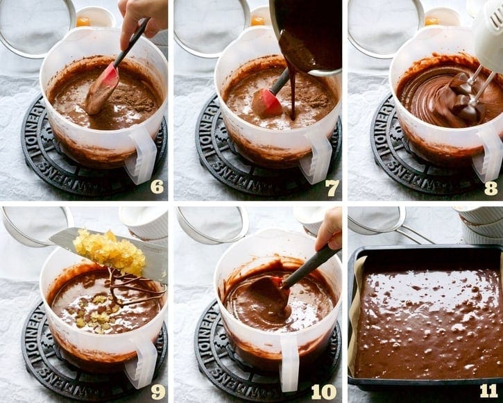 Brownies making process collage 2.