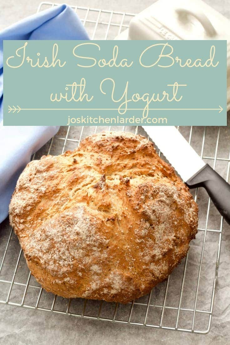 Irish Soda Bread with Yogurt is quick & easy to make using only handful of simple ingredients.  No kneading, no proving, no yeast. With this recipe you\'re only 40 minutes from freshly baked homemade loaf! #sodabread #irishsodabread #sodabreadwithyogurt #sodabreadwithoutbuttermilk #easysodabread