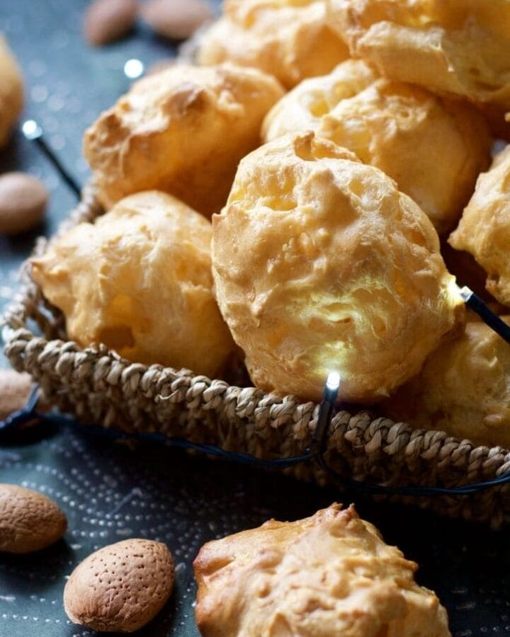 Gougeres in a basket - close up.