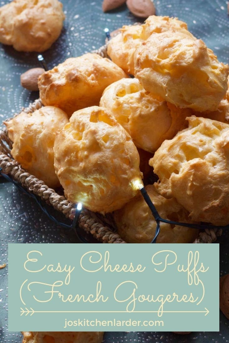 These delicious & easy to make choux pastry Cheese Puffs or French Gougères are light, cheesy and super moreish. Perfect party nibbles to accompany drinks, impressive appetizer or just something little to snack on - you decide! #cheesepuffs #gougeres #chouxpastry #partyfood #appetizer #horsdoeuvre