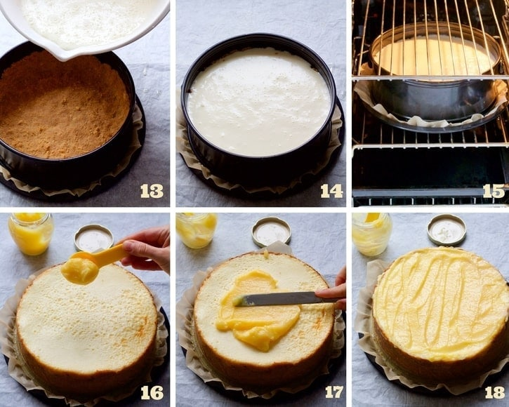 Cheesecake making process collage 3.