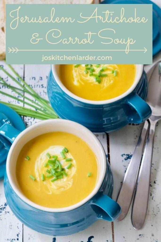 Two bowls filled with Jerusalem artichoke soup & garnishes.