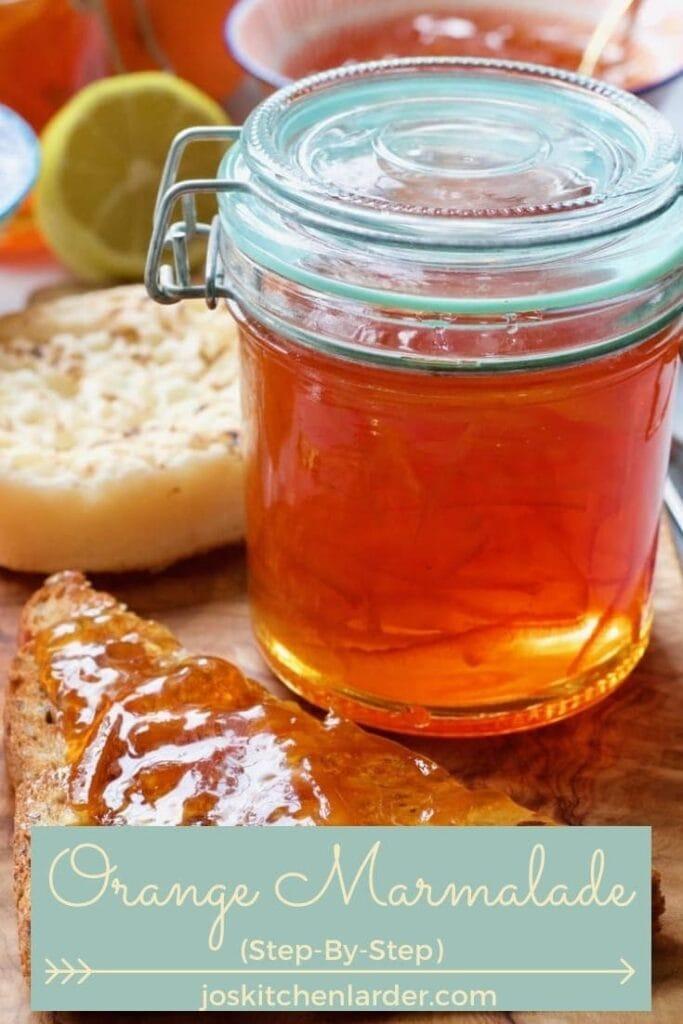 Jar with orange marmalade.