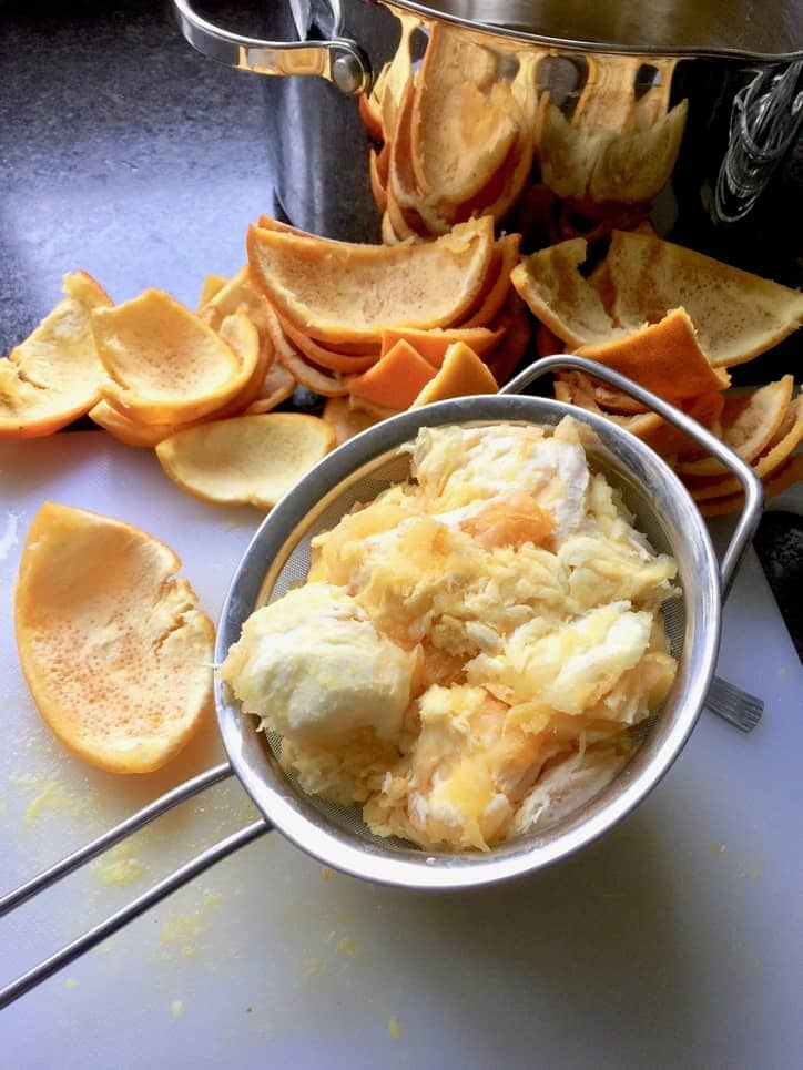 Pile of rind and sieve full of pips & pith.