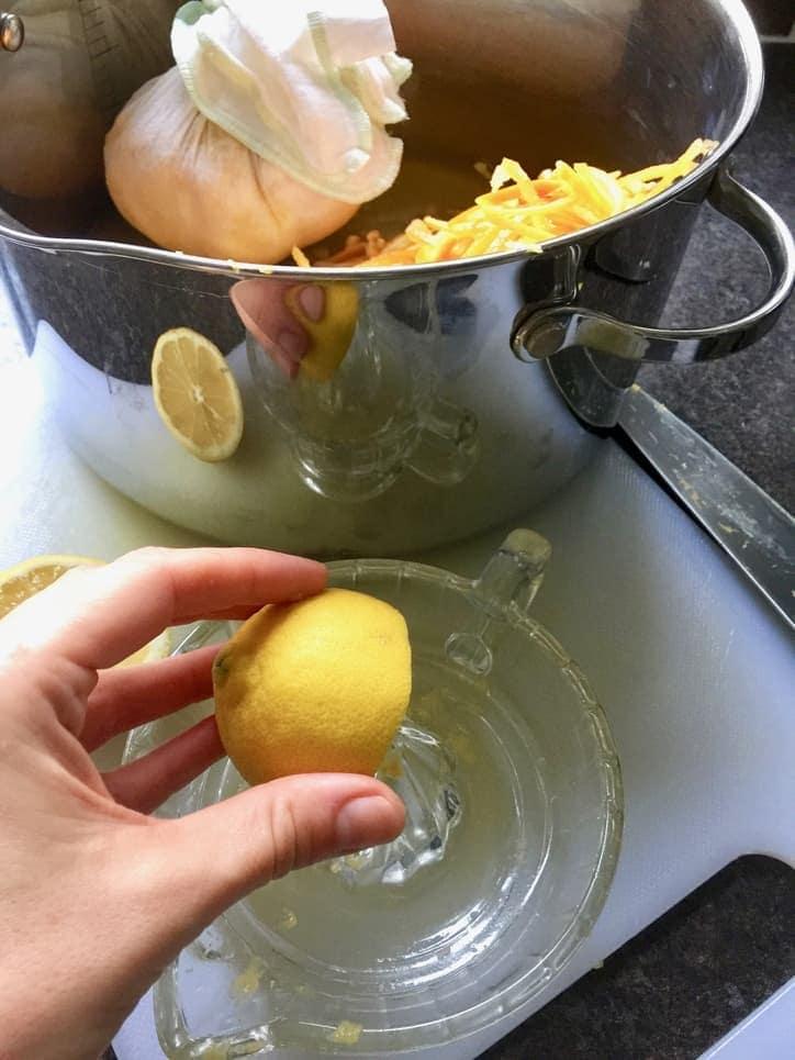 Squeezing a lemon.