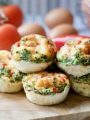 Close up of ready breakfast muffin frittatas stack.