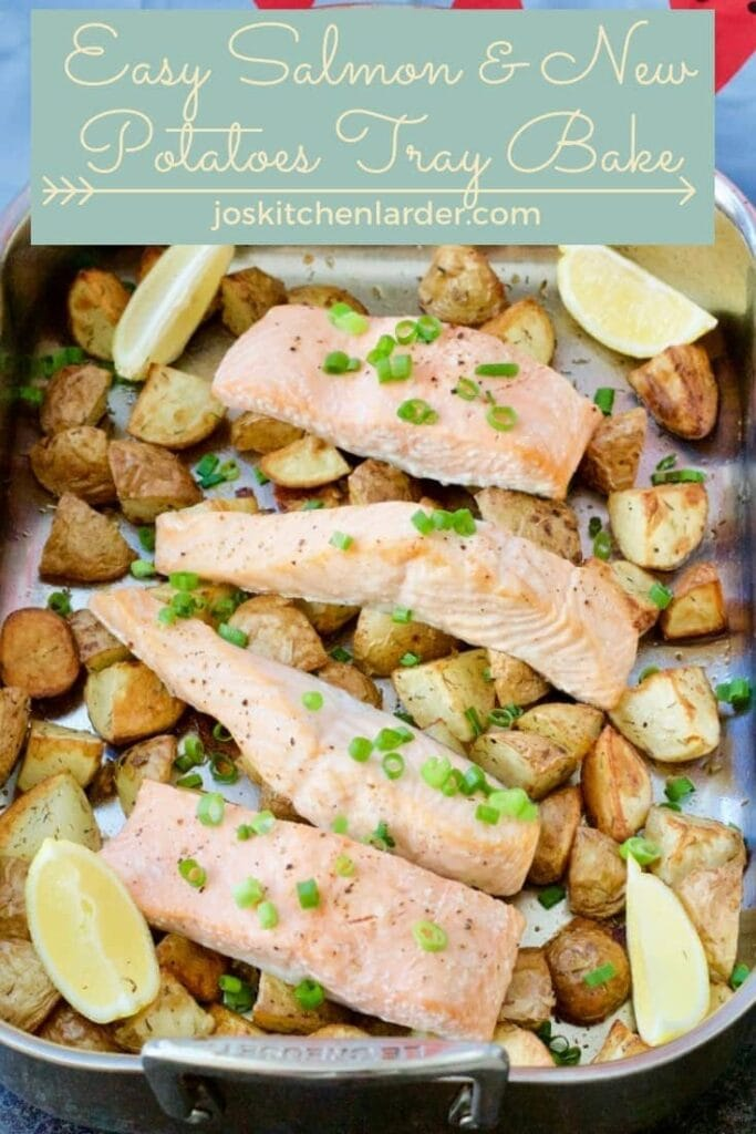 Fish fillets & potatoes sprinkled with spring onions.