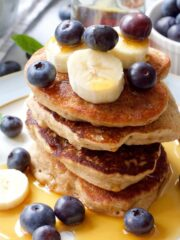 Close up of stack of vegan buckwheat pancakes.