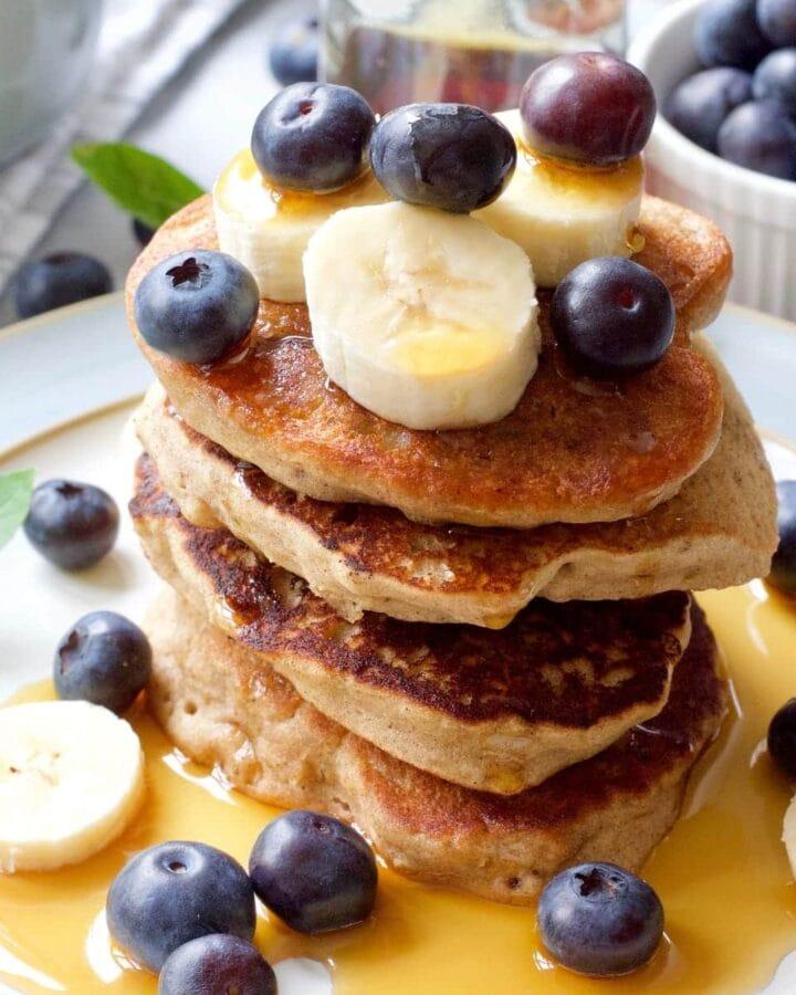 Close up of stack of vegan buckwheat pancakes.