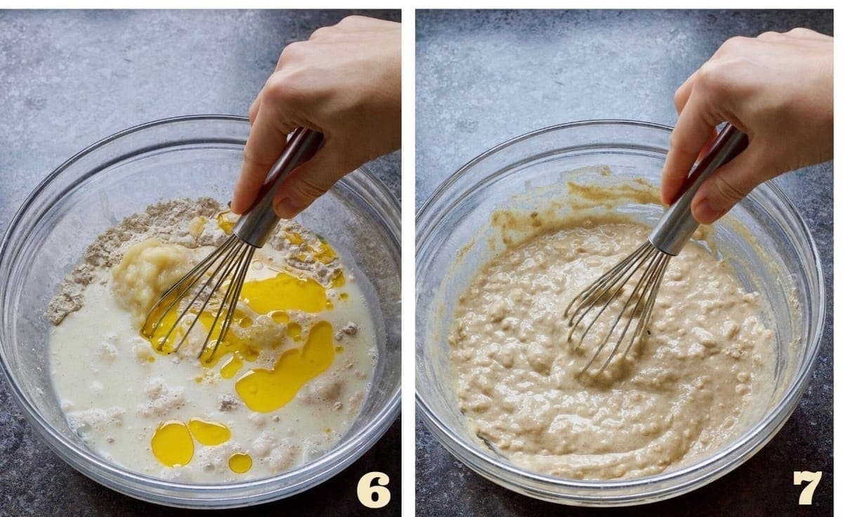 Whisk mixing batter in a bowl.