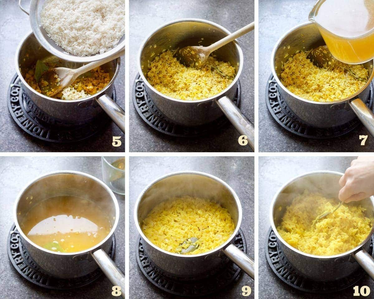 Process of cooking turmeric rice.