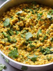 Close up of prepared Tarka Dhal with coriander garnish.