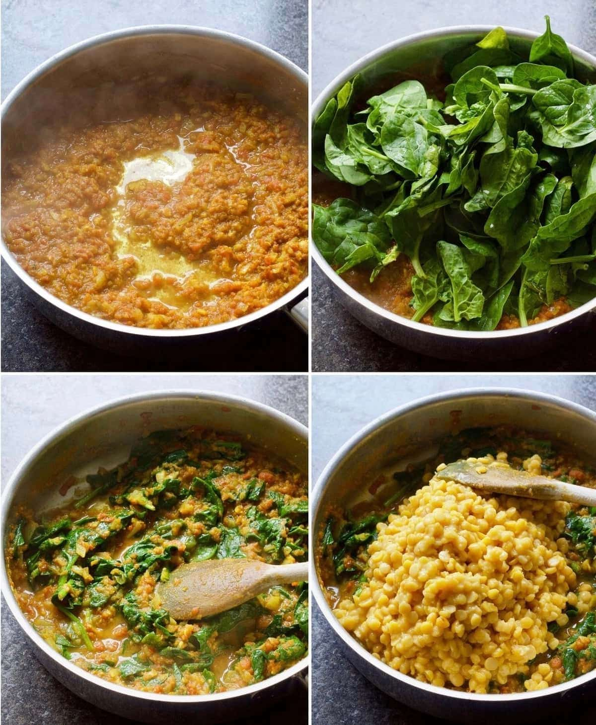Adding spinach to wilt followed by cooked chana dhal.