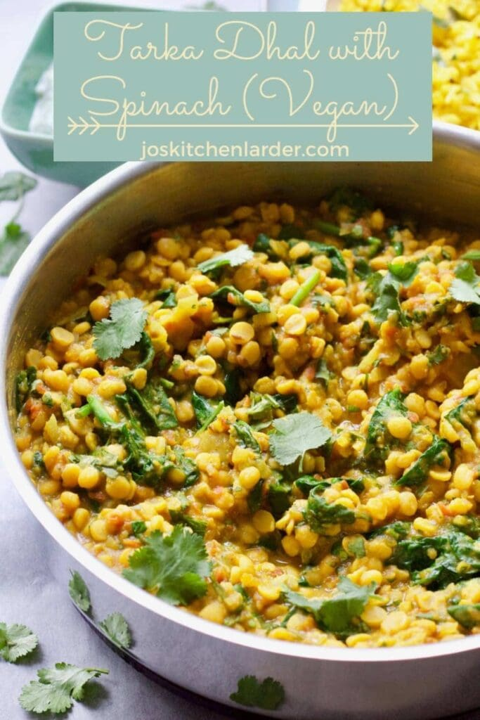 Tarka Dhal with Spinach with added coriander.