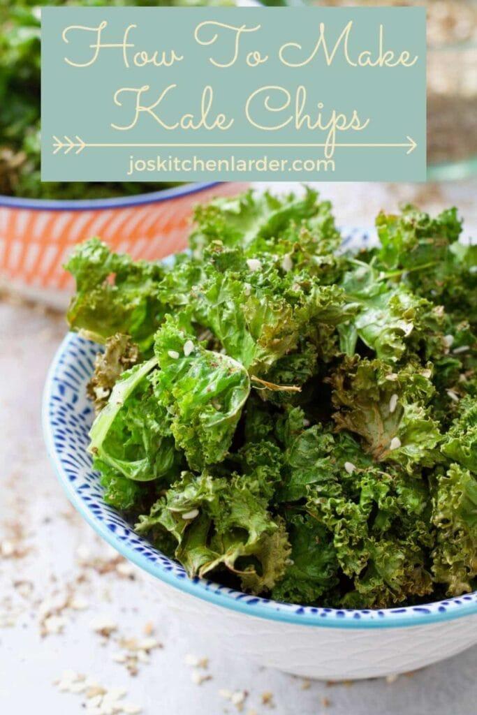 Serving of kale crisps in a bowl.