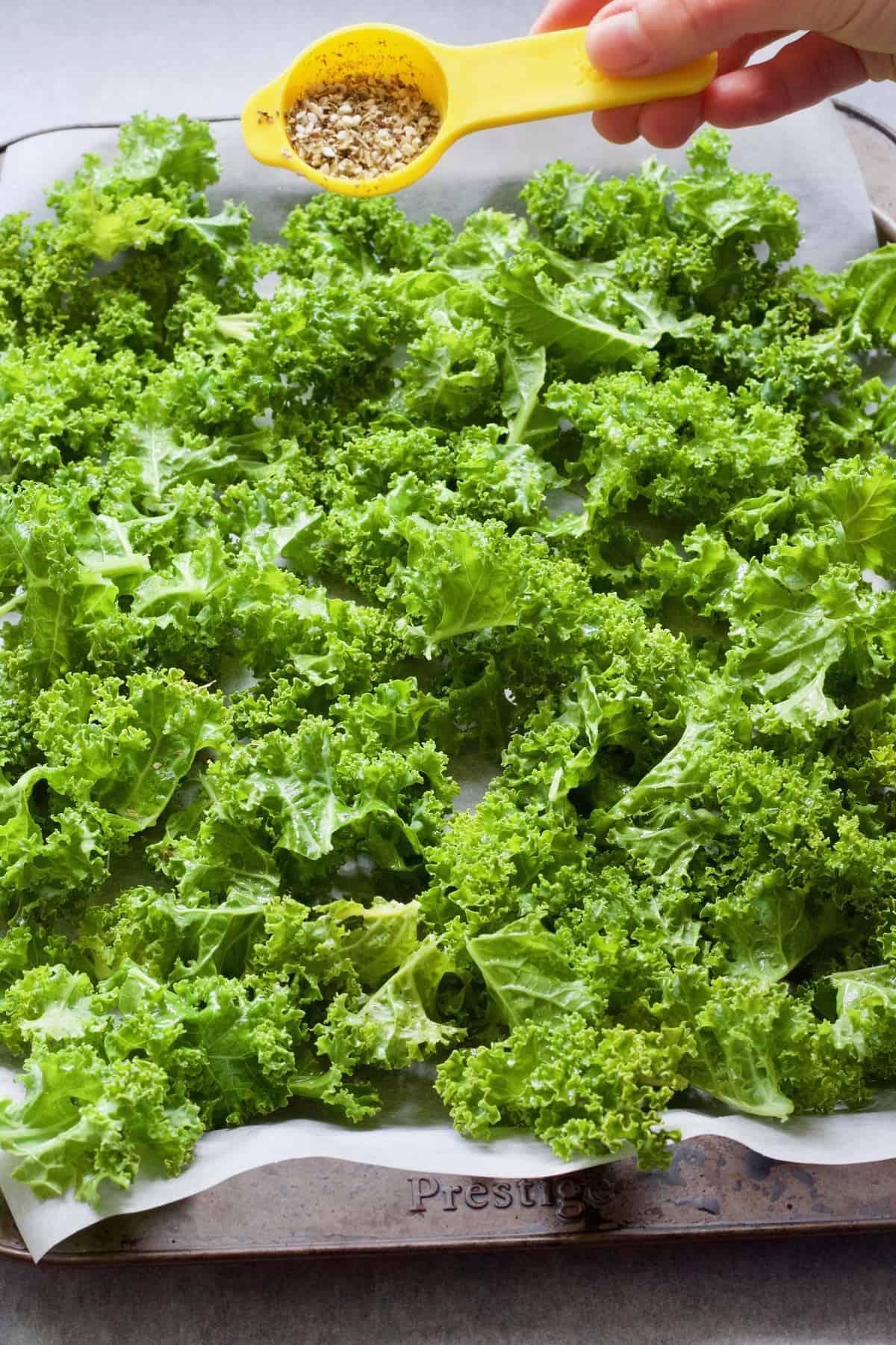 Sprinkling seasoning over kale leaves.