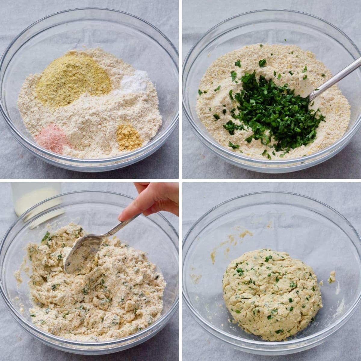 Scone dough making process.