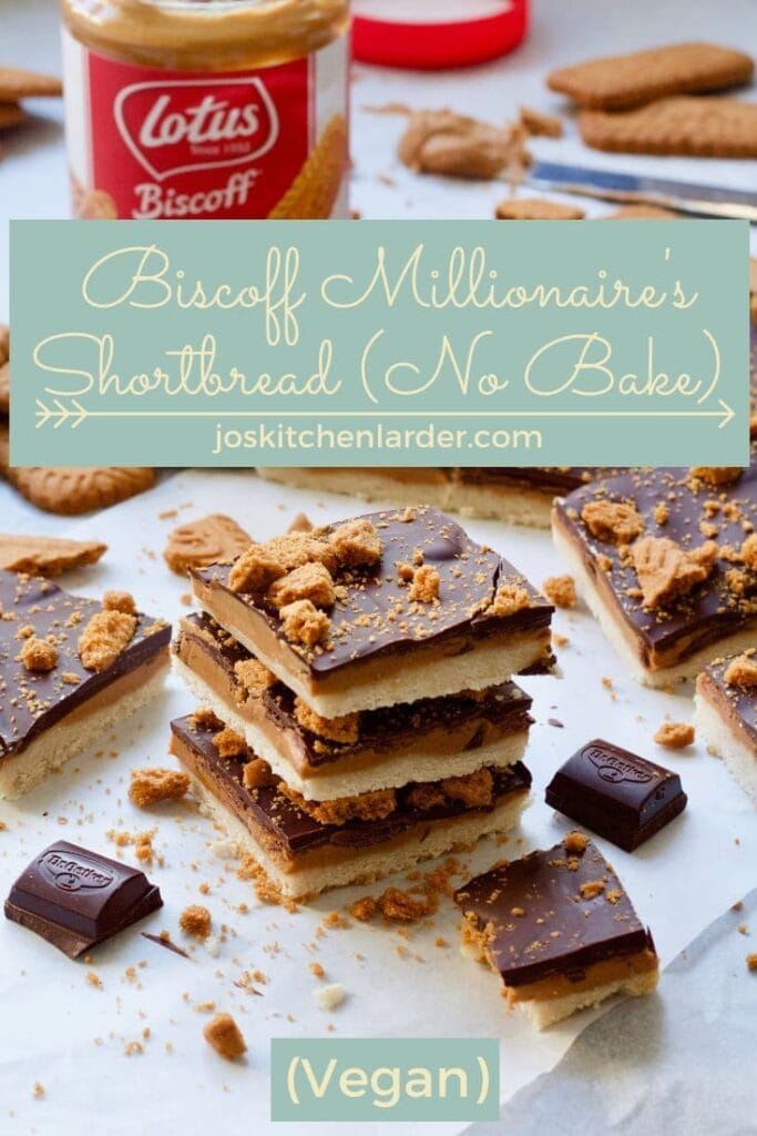 Biscoff Millionnaire's Shortbread stack, crumbs & chocolate pieces.