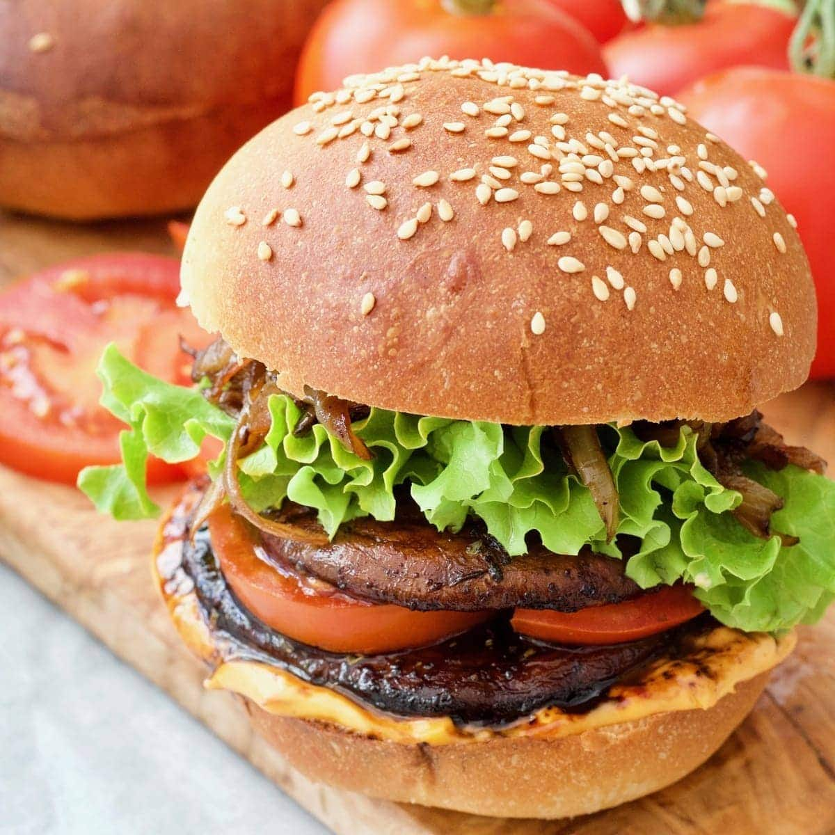 Portobello Mushroom Burger With Caramelised Onions Vegan Jo S Kitchen Larder