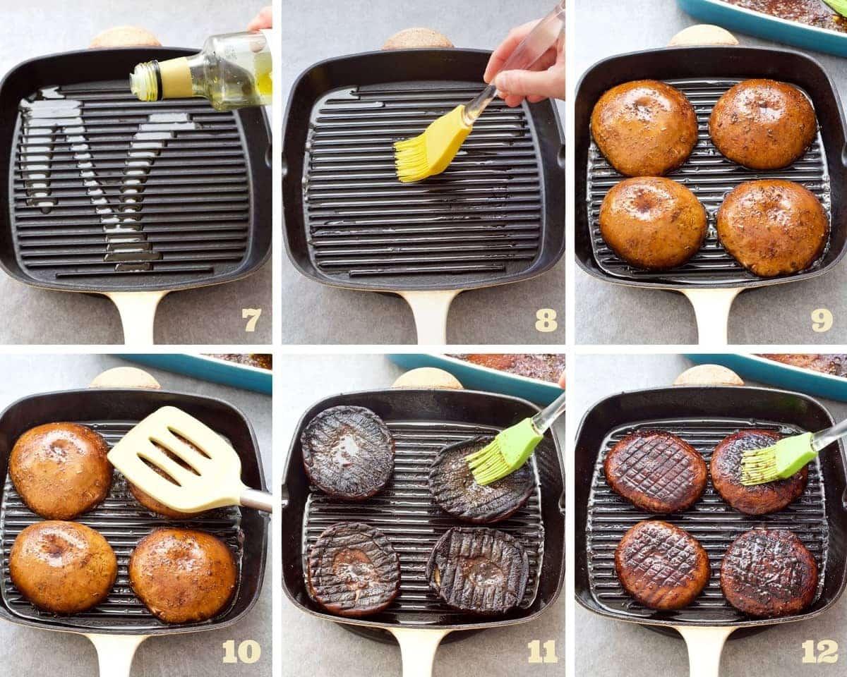 Grilling portobello mushroom caps process.