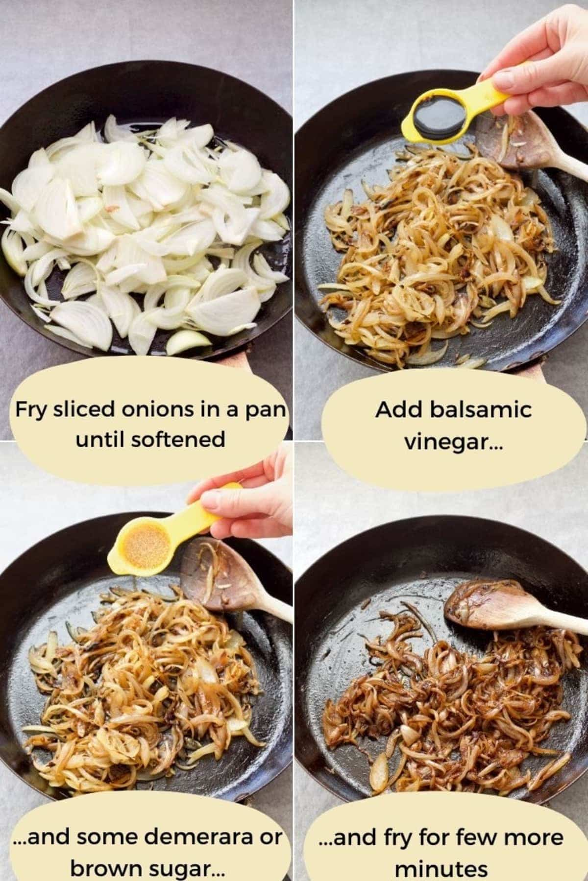Process of making caramelised onions.