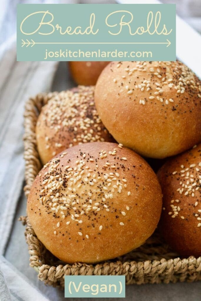 Close up of bread rolls in a basket - pin.
