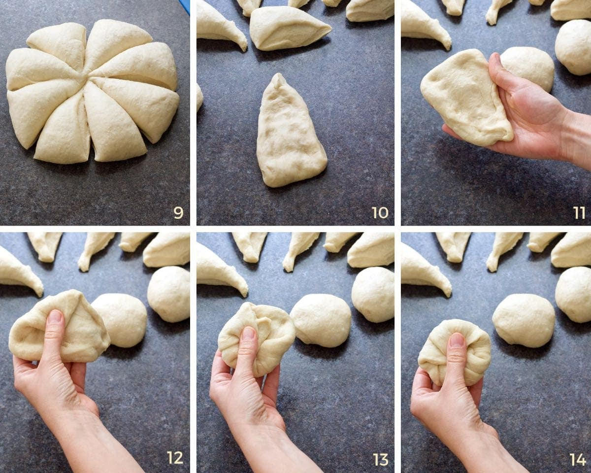 Dividing dough and shaping it into rolls.