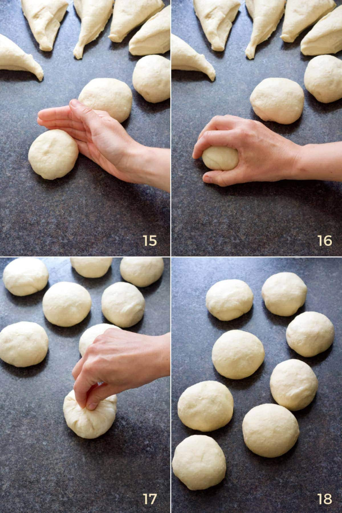 Shaping bread rolls.