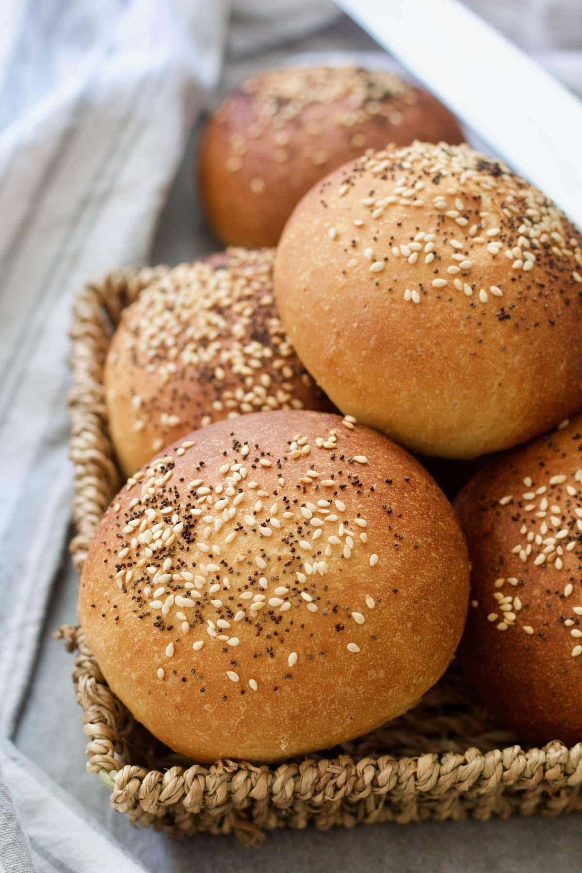 Close up of bread rolls in the basket.