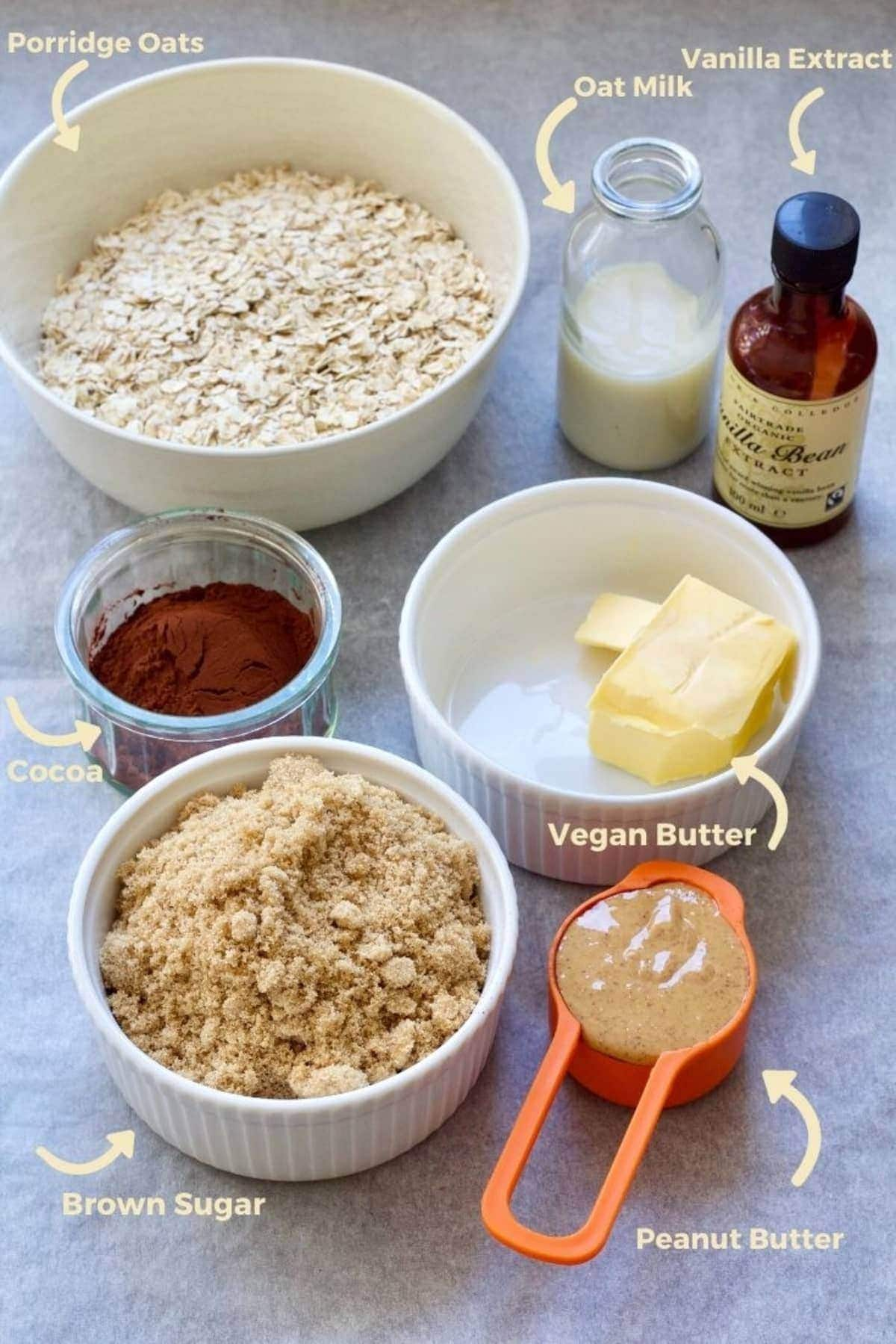 Ingredients for making chocolate oatmeal cookies.