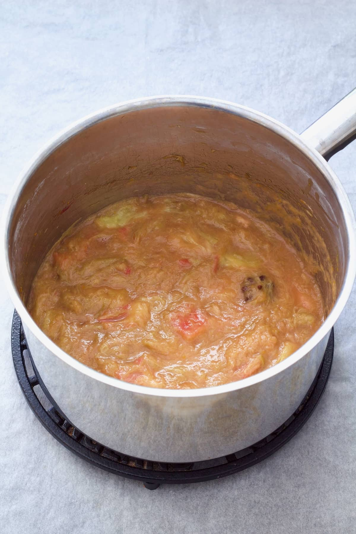 Stewed rhubarb in a pan.