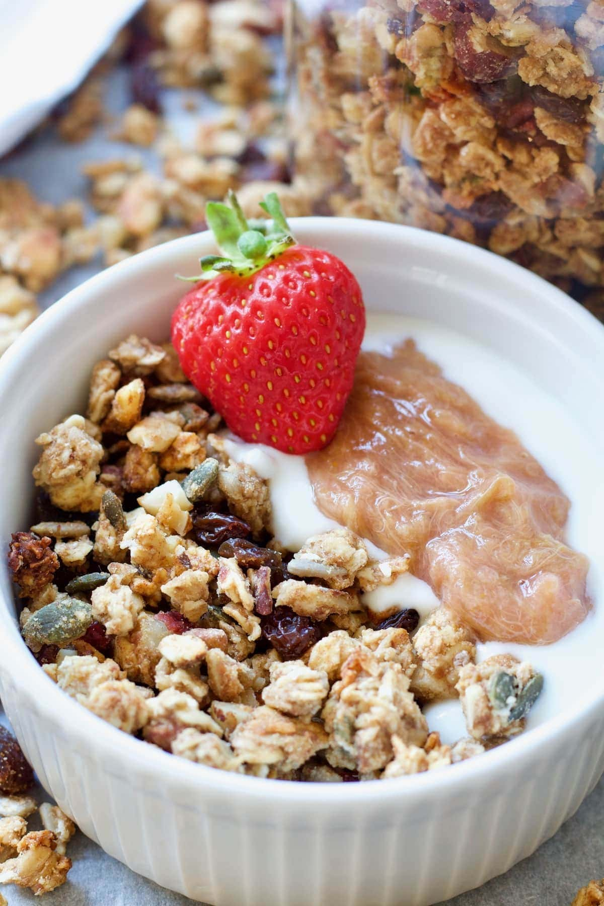 Serving suggestion with granola and yogurt.