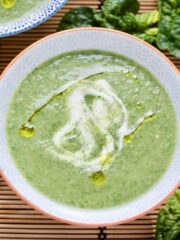 Close up of bowlful of Spinach and Mushroom Soup.