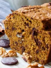 Close up of cut side of pumpkin banana bread.