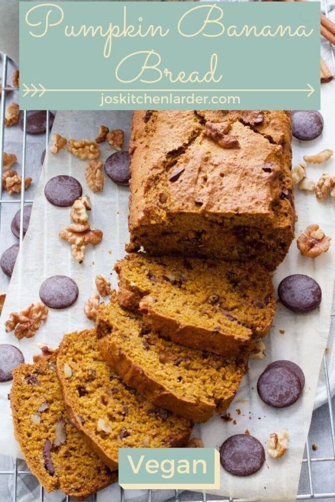 Pumpkin bread partially sliced with chocolate buttons & nuts.